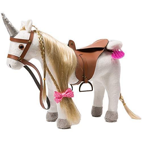 HollyHOME Stuffed Animal Unicorn Horse Pretty Plush Unicorn Pony Toy Pretend Play Horse 11 inches 白い