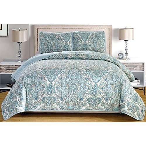 """3-Piece Fine Printed Oversize (Double) Full Size (100"""" X X 95"""") Quilt Set Reversible Bedspread Coverlet Oversize Bed Cover (Pale 青, グレー, Paisley)"""