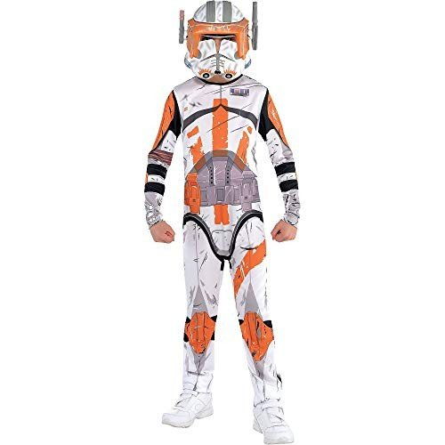 Costumes USA Star Wars Commander Cody Costume for Boys, Size Medium, Includes a 白い and オレンジ Jumpsuit and a Mask