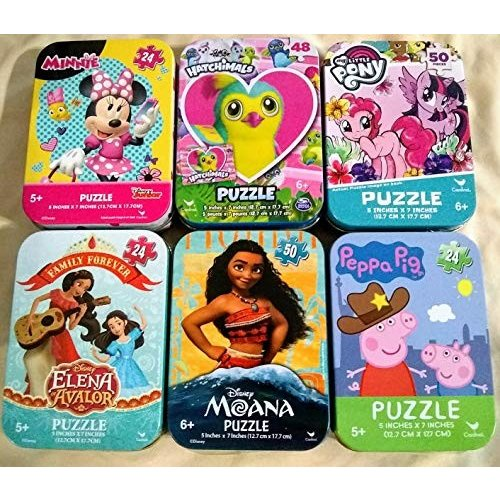 6 Collectible Puzzles Tins for Girls Ages 5+ Gift Set Bundle with My Little Pony, Minnie Mouse, Peppa Pig, Moana, Elena, Hatchimals (24/48/50 Pieces)