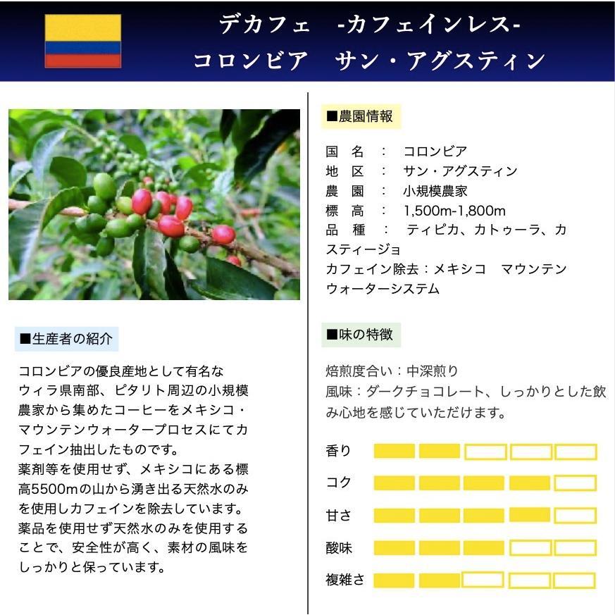 コーヒー豆 コーヒー 珈琲 250g  デカフェ-カフェインレス-  コロンビア サンアグスティン kyoto-coffee 02