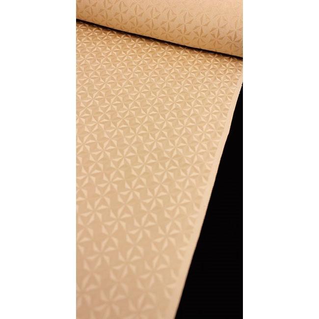 完璧 色無地 正絹反物 カジュアル 麻の葉切子 杏子ベージュ, 中山堂 c1dcb9a0