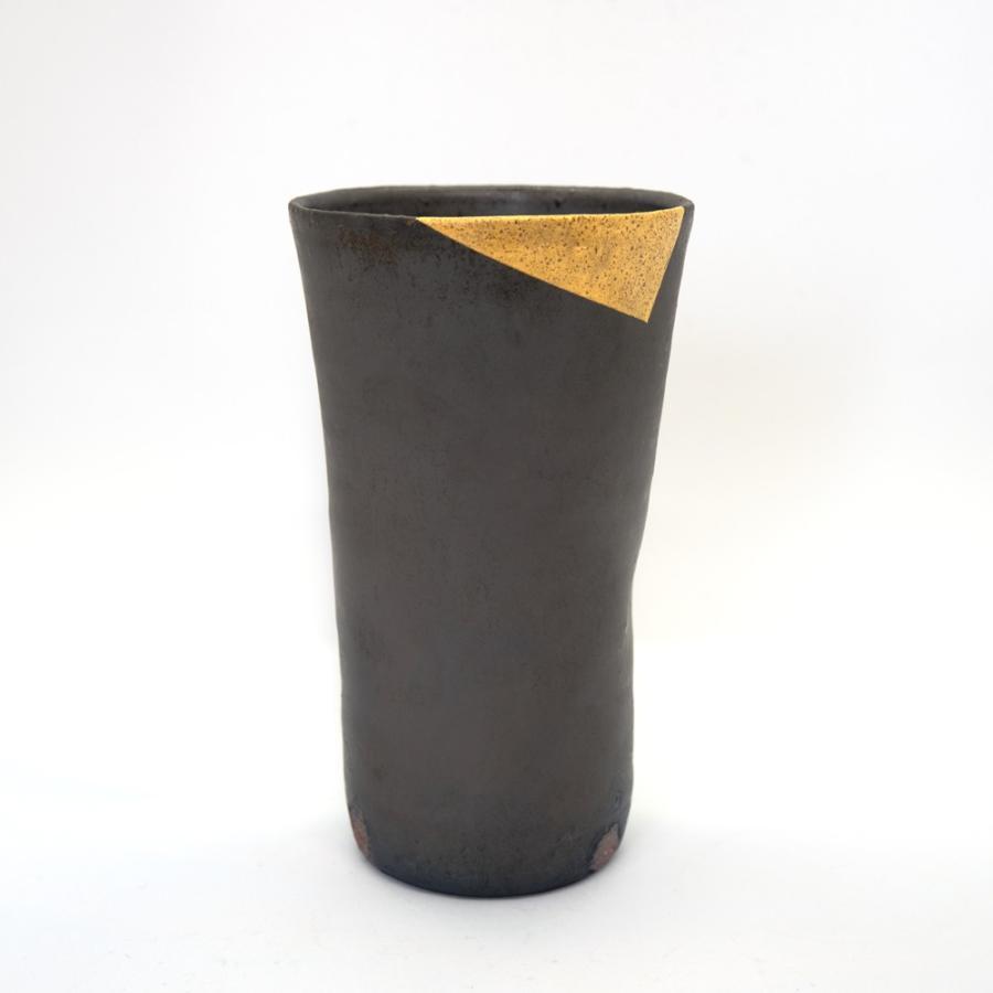 ホワイトデー 卒業祝い 多屋嘉郎 清水焼 京焼 フリーカップ ビアカップ 陶器 おしゃれ 黒釉金彩 手作り 和食器|kyotomarche