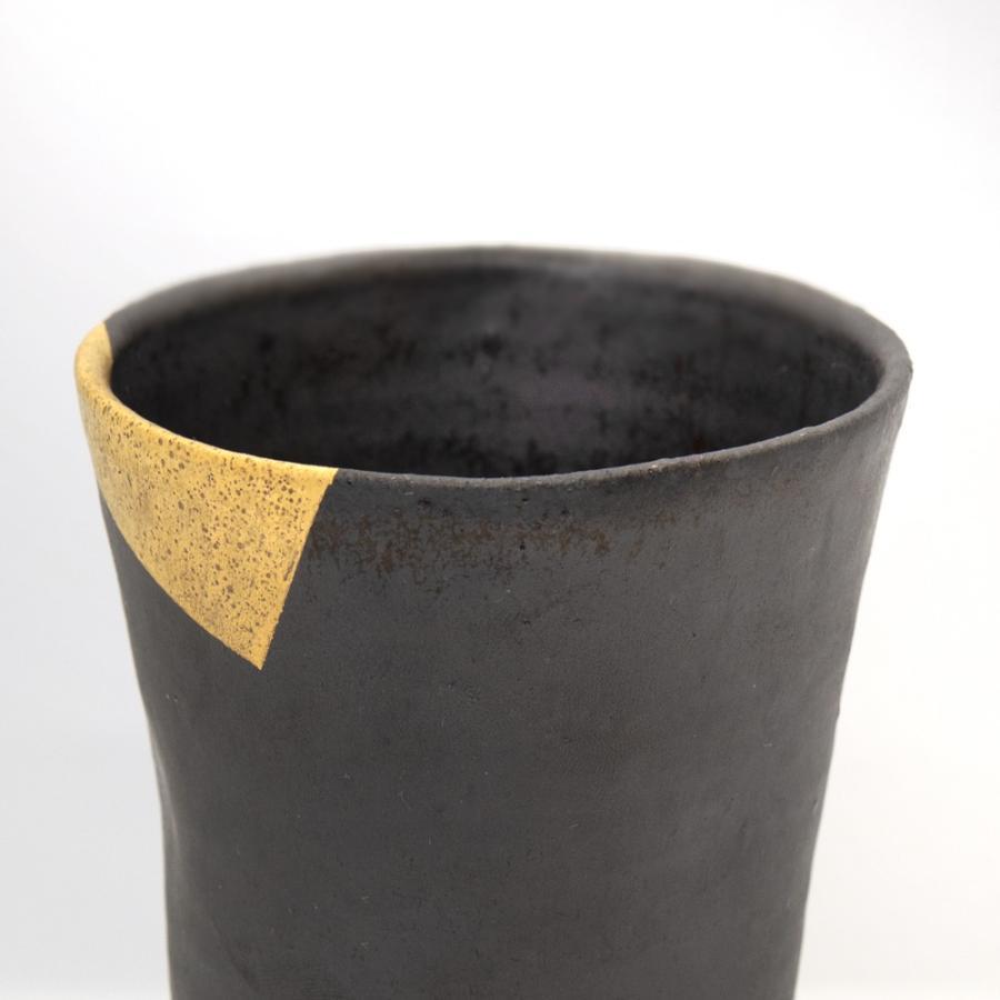 ホワイトデー 卒業祝い 多屋嘉郎 清水焼 京焼 フリーカップ ビアカップ 陶器 おしゃれ 黒釉金彩 手作り 和食器|kyotomarche|02