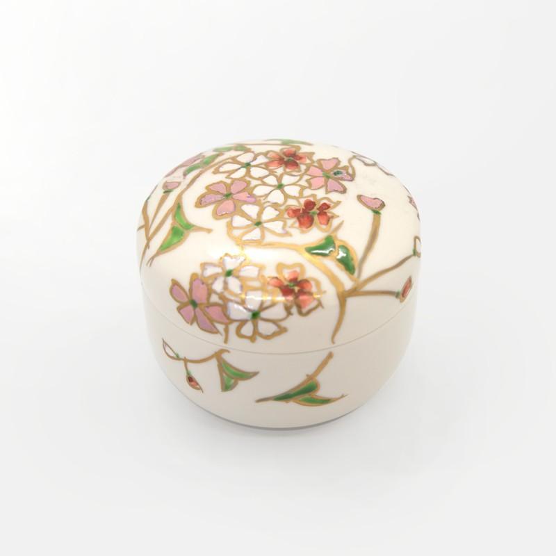 母の日 入学祝い 清水焼 京焼 薬味入れ 日昇陶器 北本 かわいい 花 花柄 丸蓋物 桜蓋物 小  陶器 kyotomarche