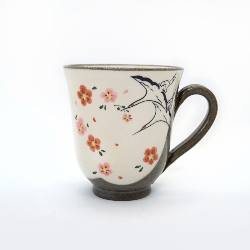 母の日 入学祝い 嘉峰窯 清水焼 京焼 マグカップ 和風 祝儀 おしゃれ 花 鶴 ツル めでたい|kyotomarche