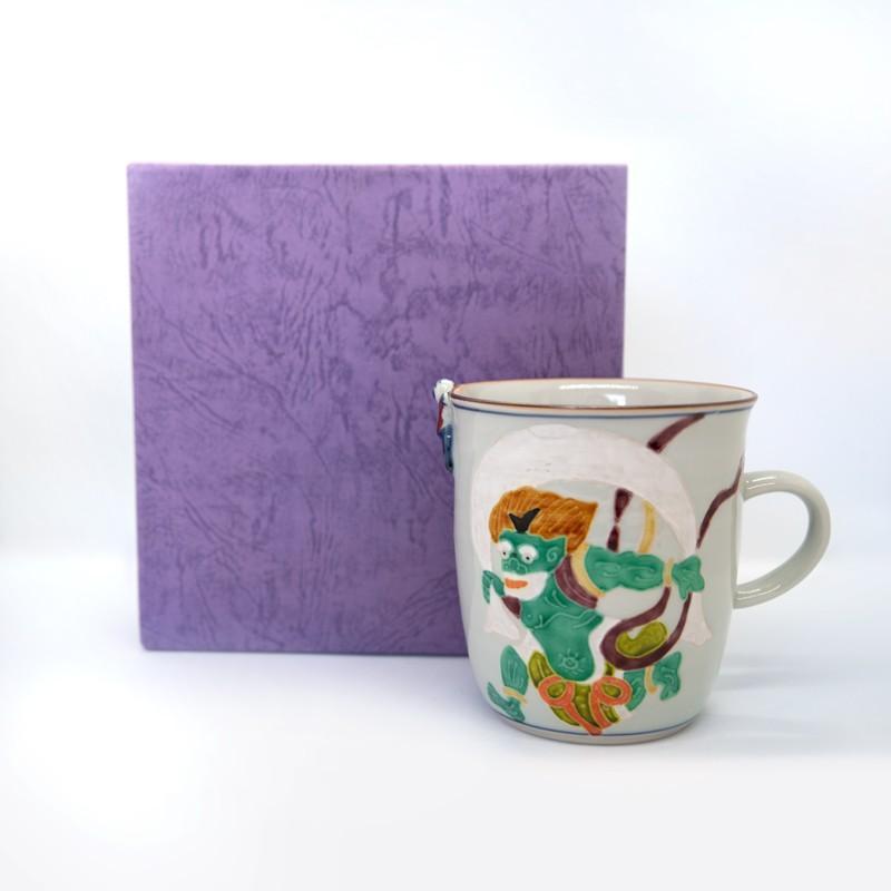 母の日 入学祝い 清水焼 京焼 マグカップ 和風 一珍風神マグカップ 陶器 和食器 kyotomarche 05