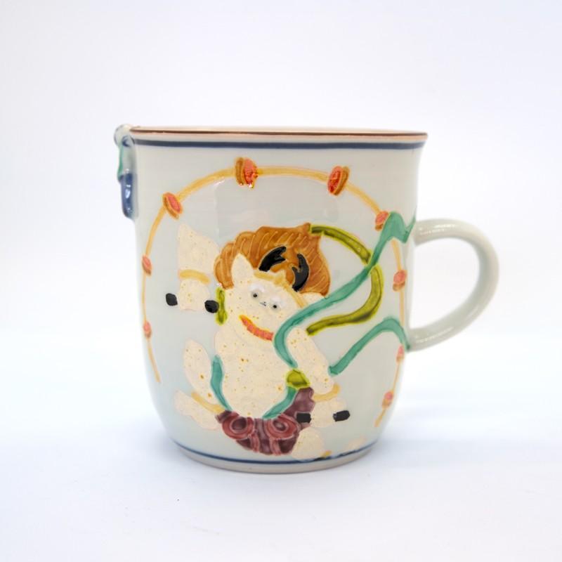 母の日 入学祝い 清水焼 京焼 マグカップ 和風 一珍雷神マグカップ 陶器 和食器|kyotomarche