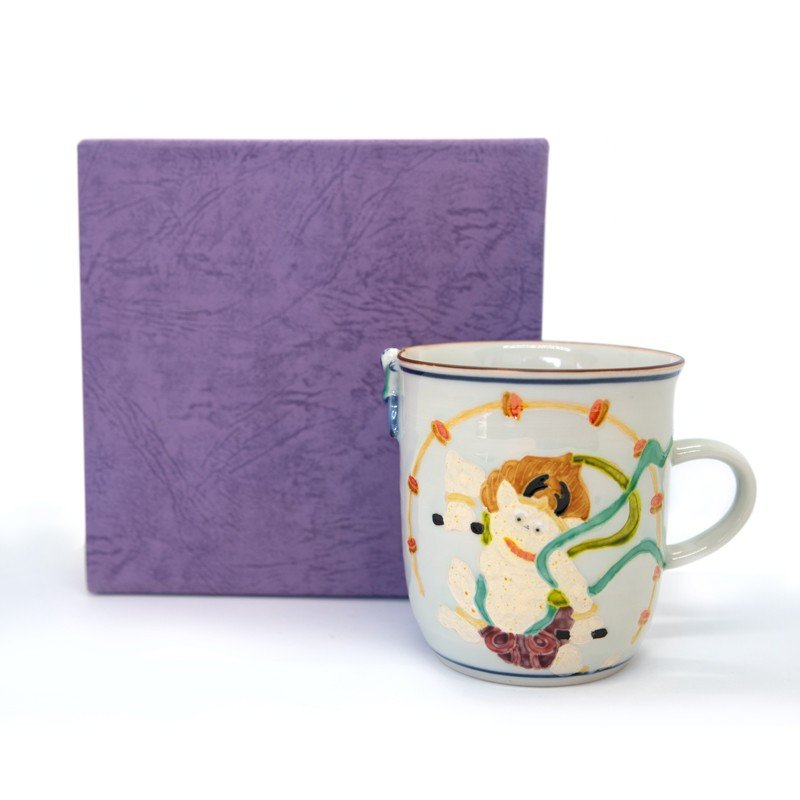 母の日 入学祝い 清水焼 京焼 マグカップ 和風 一珍雷神マグカップ 陶器 和食器|kyotomarche|05