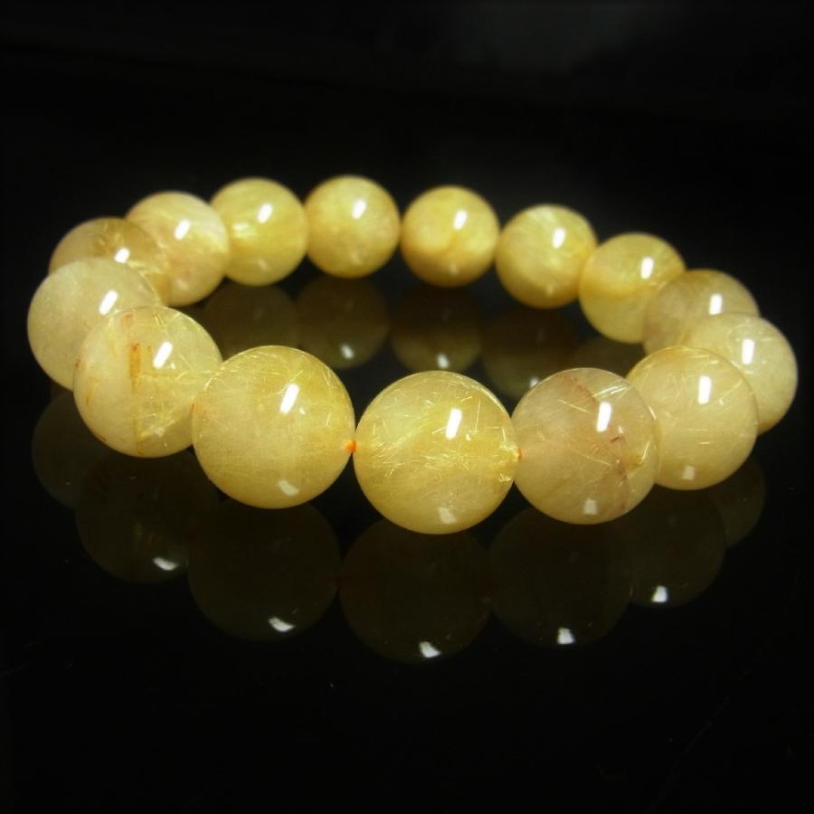 【破格値下げ】 現品一点物 ゴールド ルチル ブレスレット 金針水晶 天然石 数珠 15ミリ R67 最強金運 パワーストーン 贈り物 プレゼント, titivate(ティティベイト) 1c7bdbcc