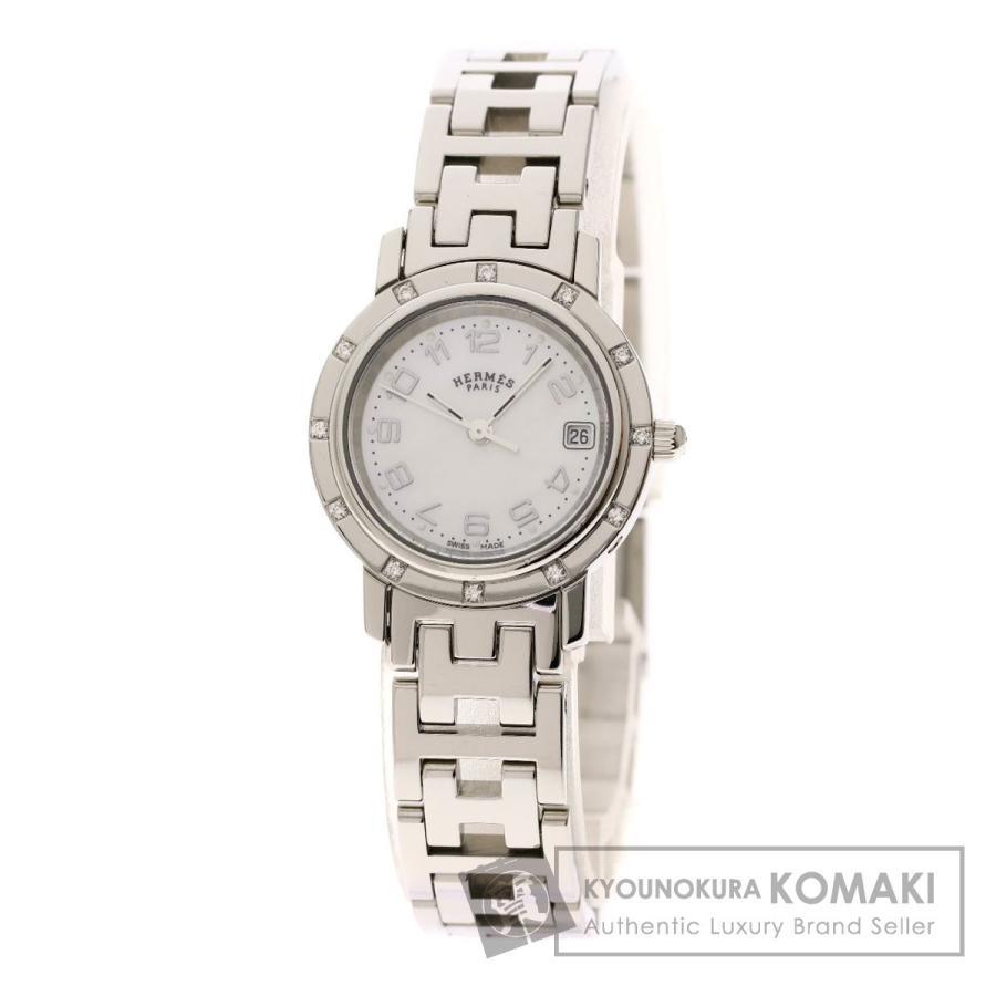 卸売 HERMES エルメス CL4.230 クリッパー12Pダイヤモンド 腕時計 ステンレススチール/SS レディース, ベーネベーネ 593852f6