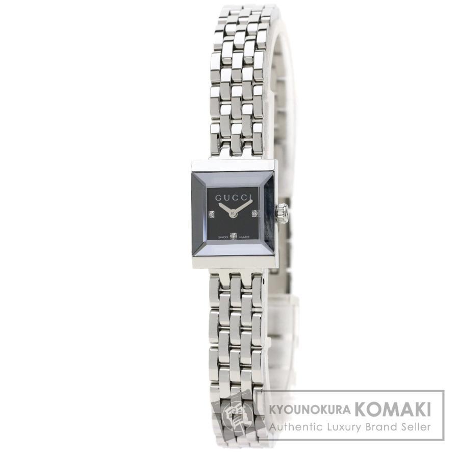 トップ GUCCI グッチ 128.5 3Pダイヤモンド Gフレーム 腕時計 ステンレススチール/SS レディース, オナガワチョウ 42d0d6c4