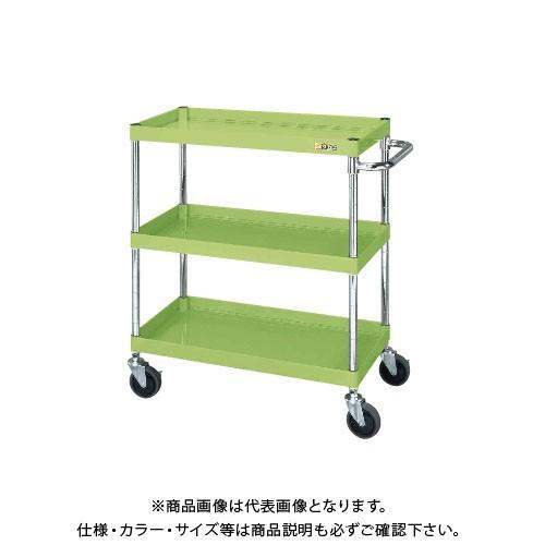 (直送品)サカエ SAKAE ニューパールワゴン(静音キャスター仕様) 750×500×880 グリーン PKR-203SE