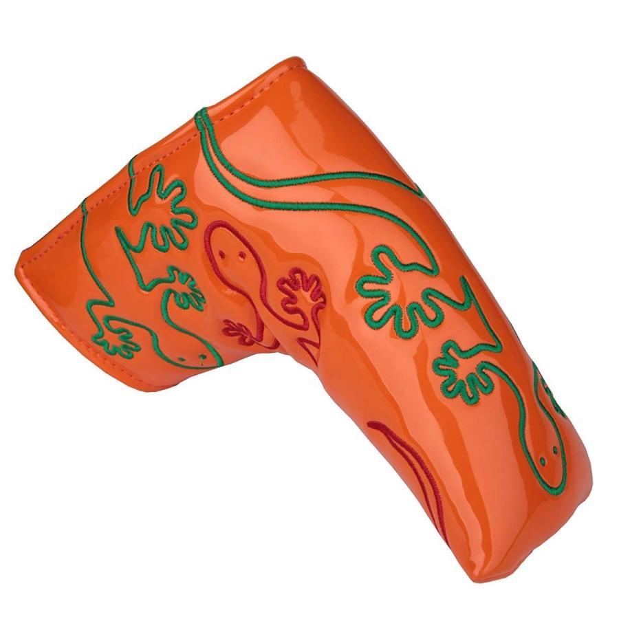 パターカバー ヘッドカバー スコッティーキャメロン オデッセイに適合 磁石タイプ開閉式 ヤモリ刺繍 ピンタイプ kyuhin999 09