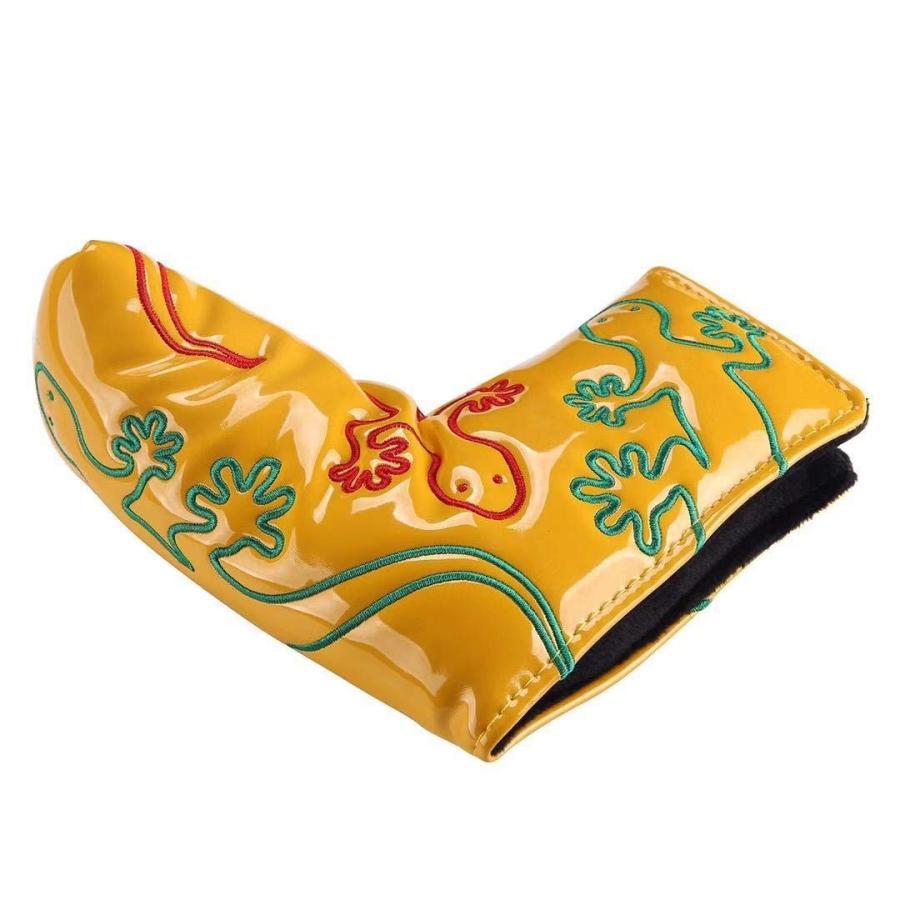 パターカバー ヘッドカバー スコッティーキャメロン オデッセイに適合 磁石タイプ開閉式 ヤモリ刺繍 ピンタイプ kyuhin999 04
