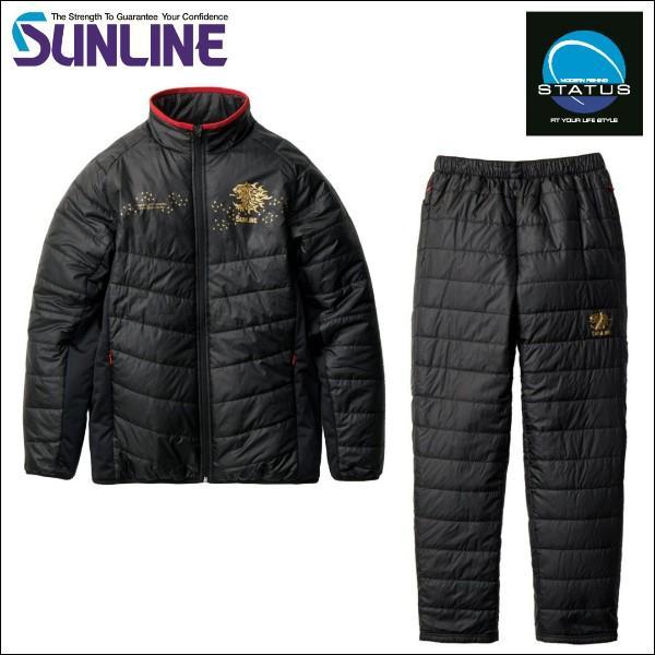 サンライン キルティング ミドラースーツ M ブラック 黒 ステータス フィッシング ウエア SUW-3227( 期間限定 特価 セール)