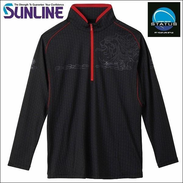 サンライン TERAX COOL DRY ドライシャツ(長袖) 3L SUW-5570CW ブラック 黒 ステータス フィッシング ウエア