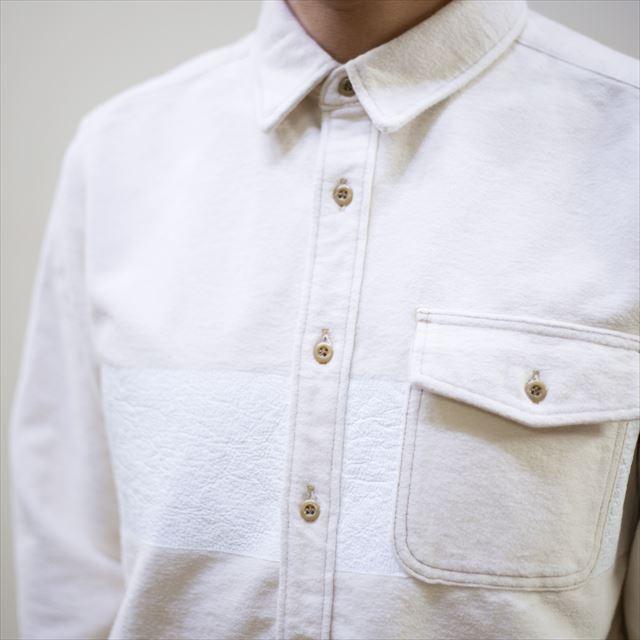 TURN ME ON ターンミーオン /パネルプリント 起毛ネルシャツ(WHITE) Lサイズ la-grande-roue