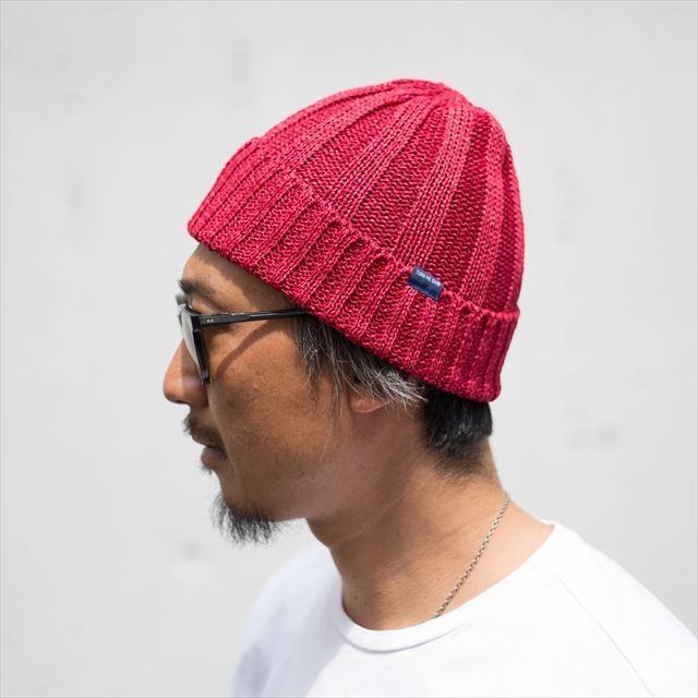 TURN ME ON /和紙ニットキャップ (RED) ニット帽 ビーニー la-grande-roue 03