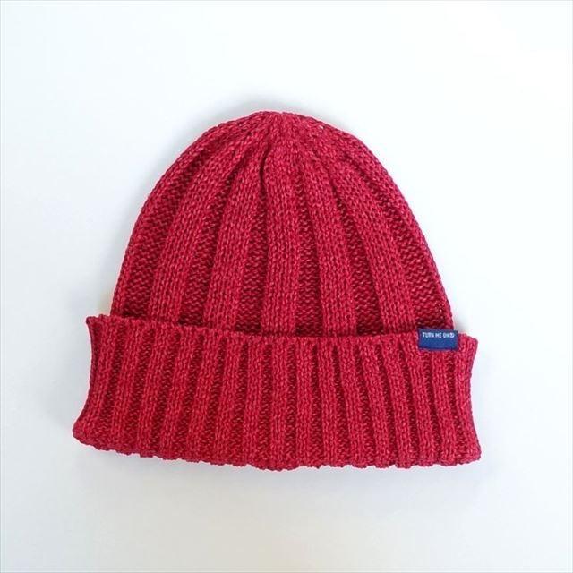 TURN ME ON /和紙ニットキャップ (RED) ニット帽 ビーニー la-grande-roue 04