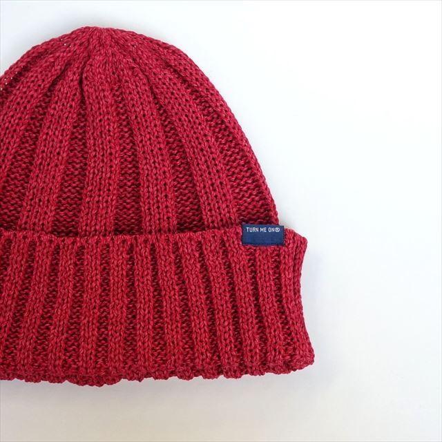 TURN ME ON /和紙ニットキャップ (RED) ニット帽 ビーニー la-grande-roue 05