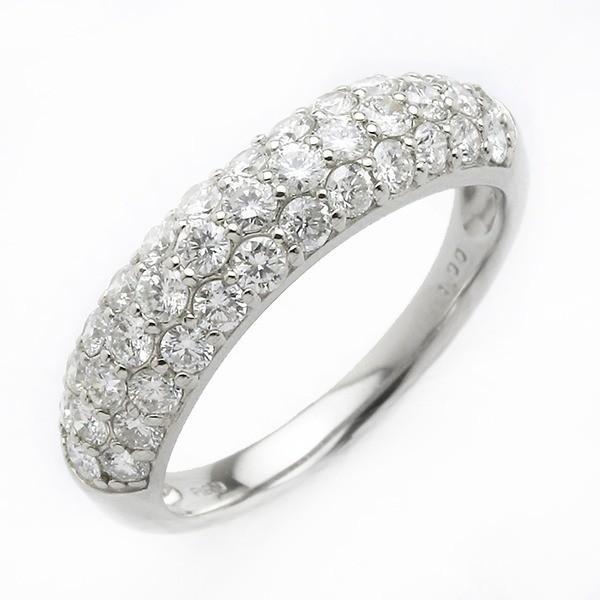 優れた品質 ダイヤモンド リング ハーフエタニティパヴェ 1ct プラチナ Pt950 ダイヤ合計37石 1カラット ハニカムセッティング構造で強度アップ ハーフエタニティリング ..., キクミ商会 6349e0d8