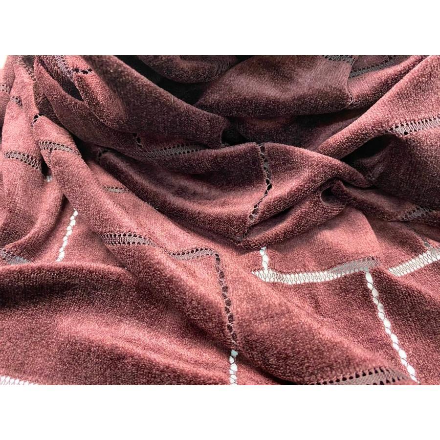 【ボーダー柄(レンガ)】ベロアレース 生地 No.137442Y  100cm巾×50cm単位販売 4色(ブラック・ネイビー・ボルドー・ベージュ)日本製|lace|09