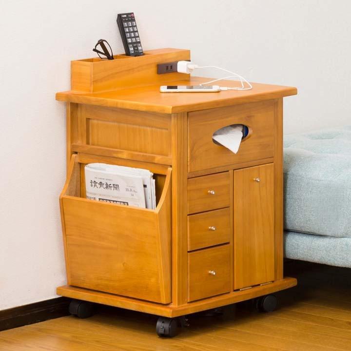 サイドテーブル ベッド キャスター付き 完成品 おしゃれ 木製 すっ桐 ナイトワゴン 64837 (代引不可)