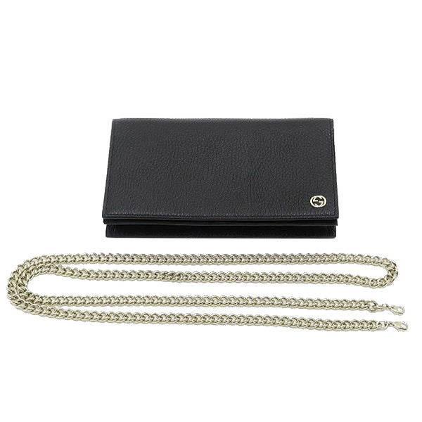 グッチ チェーンウォレット 長財布 ショルダーバッグ レザー ブラック 黒 箱付き 466506 新品|lafesta-k|05