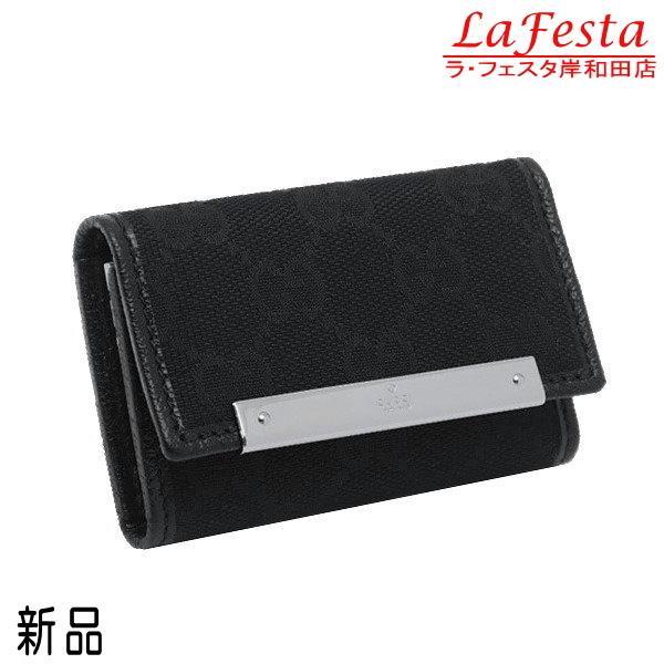 グッチ 6連キーケース GGキャンバス×レザー ブラック 箱付き 127048 新品|lafesta-k