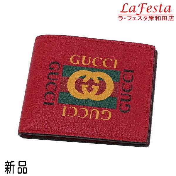 グッチ 2つ折り財布(札・カード入れ) レザー レッド 赤系 GGヴィンテージロゴプリント 箱付き 496309 新品 lafesta-k