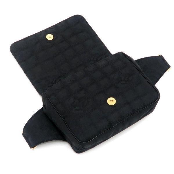 シャネル ニュートラベルライン ウエストポーチ ブラック 黒 Gカード 保存袋付き A29346 中古(程度極良【美品】)|lafesta-k|07