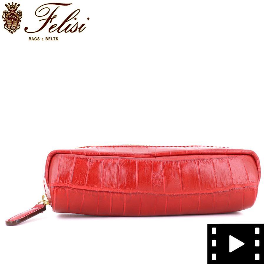 フェリージ Felisi クロコダイル型押し エンボスレザー ペンケース 724/SA RED(レッド)|laglagmarket