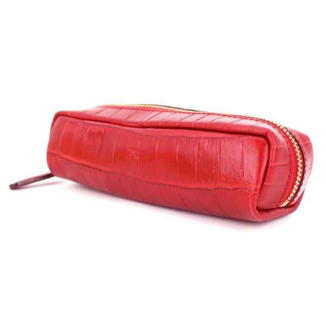 フェリージ Felisi クロコダイル型押し エンボスレザー ペンケース 724/SA RED(レッド)|laglagmarket|02