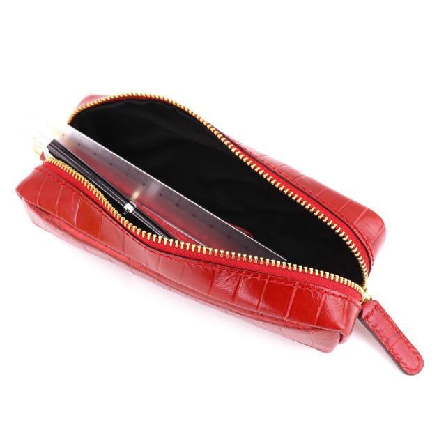フェリージ Felisi クロコダイル型押し エンボスレザー ペンケース 724/SA RED(レッド)|laglagmarket|10