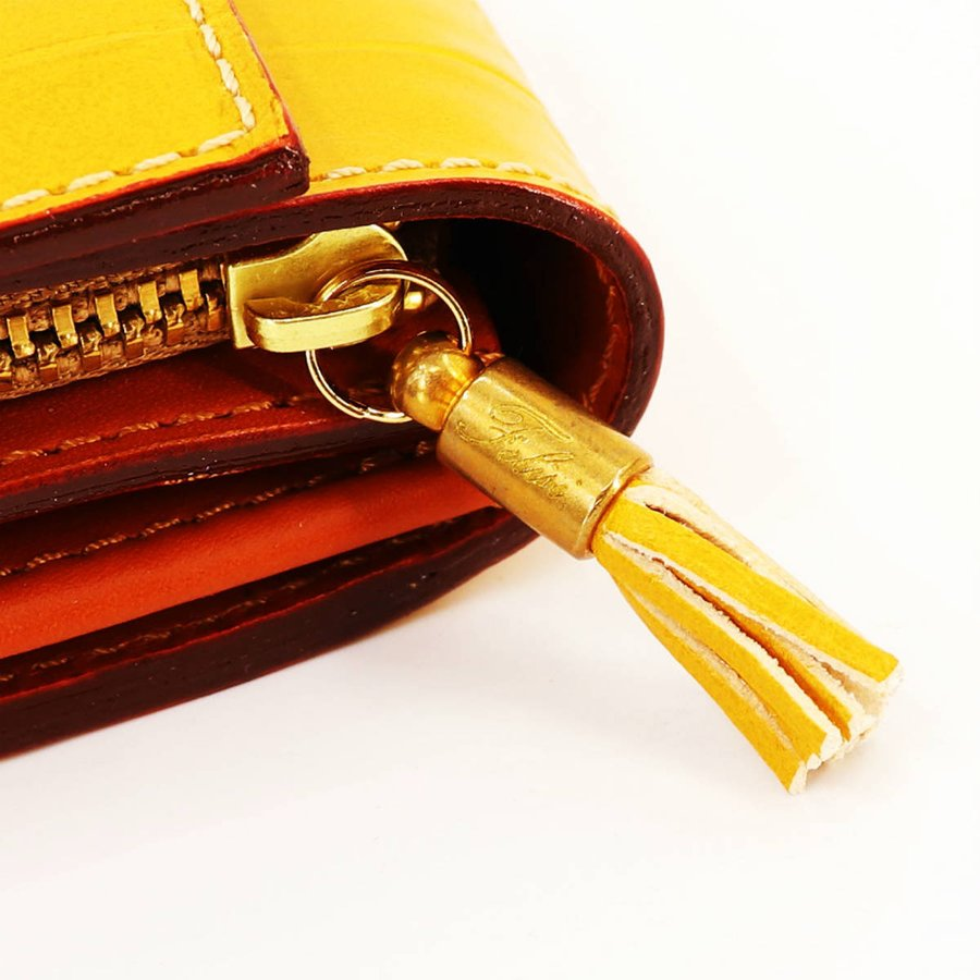 フェリージ Felisi クロコダイル型押し エンボスレザー コロコロ折財布 1041/SA YELLOW(イエロー)|laglagmarket|05