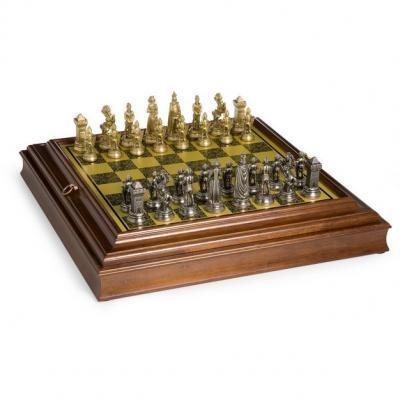 ビクトリア朝 真鍮 & シルバー チェス セット ボード タイプ:イタリアン WORM ウッド/真鍮