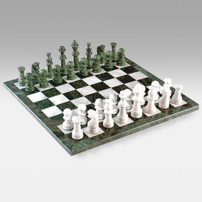 グリーン&ホワイト マーブル チェスセット 大理石【18インチ】