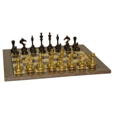 ソリッド ブラス スリム チェスセット グレー ブライアー チェスボード 【17.25インチ】