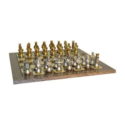 キャメロット 胸像 ゴールド & シルバー チェスセット グレー/アイボリー ブライアー チェスボード 【15.5インチ】