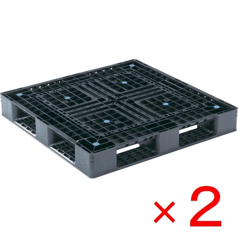 法人限定 サンコー プラスチックパレット 1100X1100X150mm ランキングTOP5 D4-1111-6N 再生ブラック 2台セット販売 早割クーポン 代引不可 メーカー直送