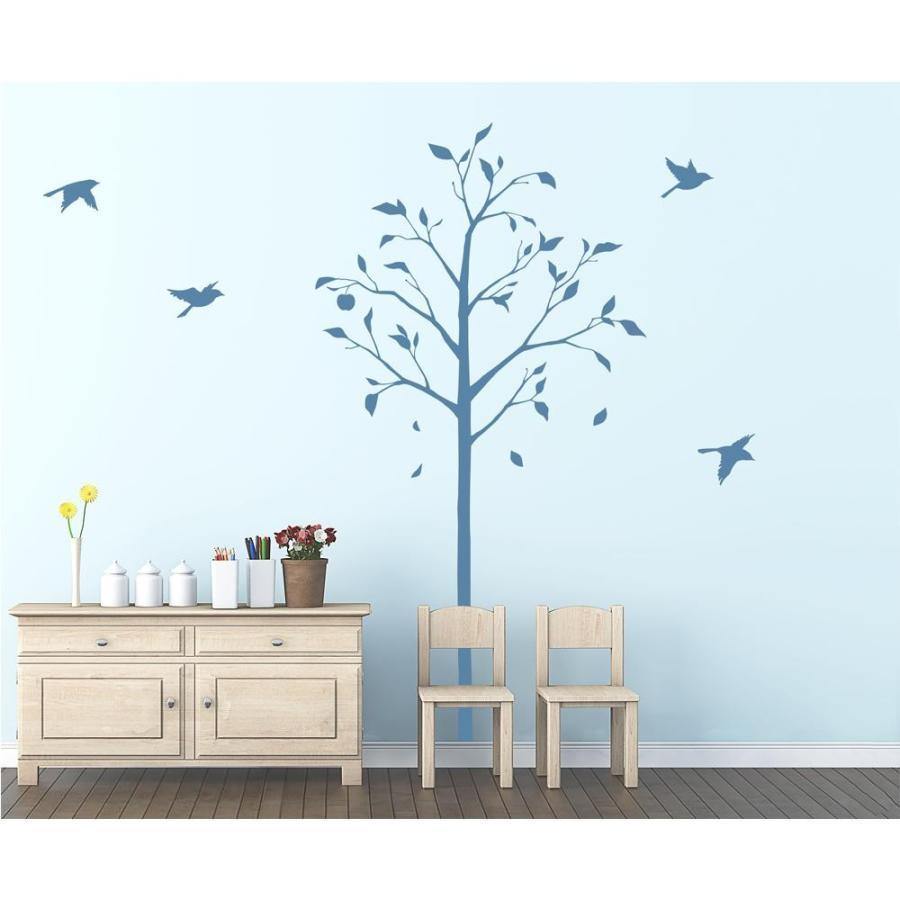 東京ステッカー ウォールステッカー 転写式 林檎の木と小鳥 ブルー Lサイズ TS-0051-DL(同梱不可)