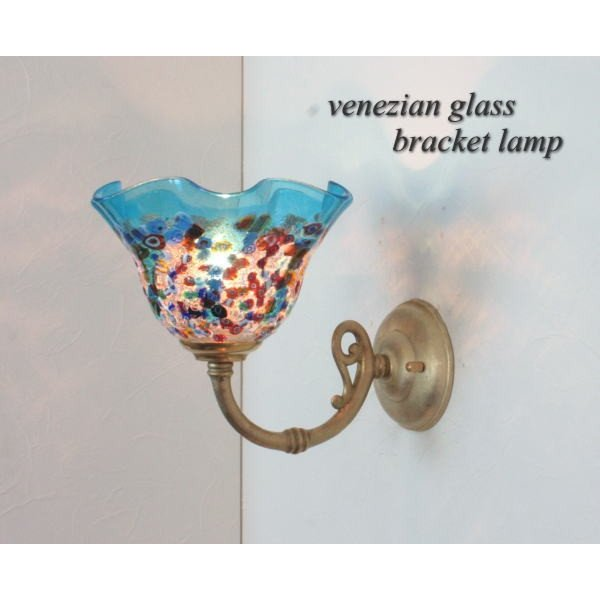 ブラケットランプ ブラケットライト ウォールランプ ベネチアンガラス イタリア製 fc-w634gy-fantasy-smerlate-light青(fc-w634gyシリーズ)