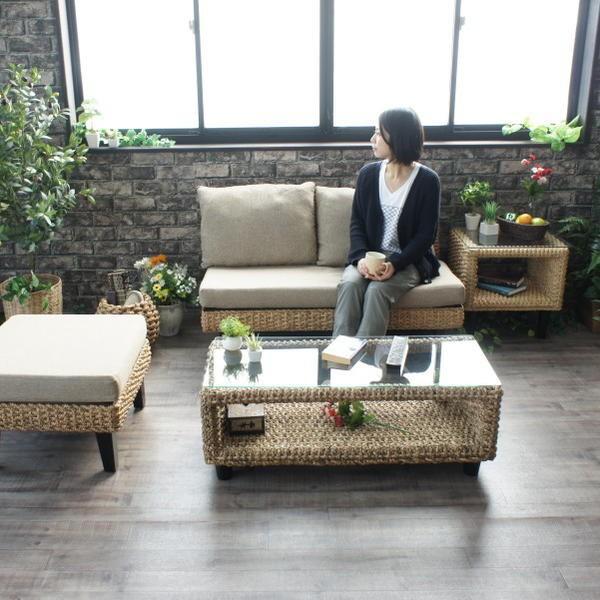 リビングテーブル 100cm幅 おしゃれ ウォーターヒヤシンス アジアン 家具 T137AT landmark 02