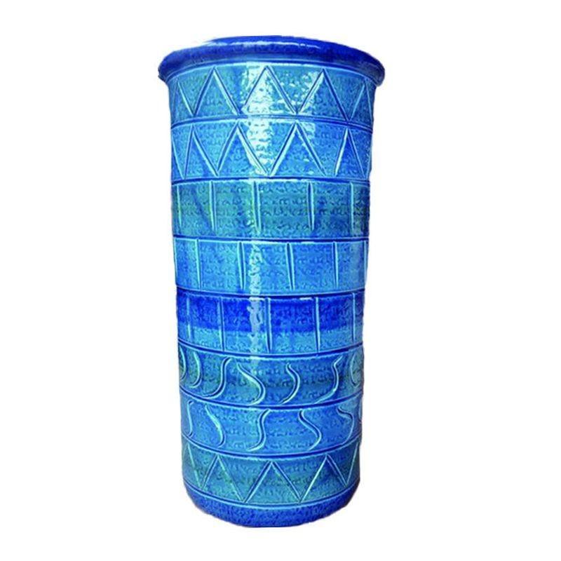 イタリア製 陶器かさ立て ストレート 青地 幾何学柄 傘立て 東京百貨店 東京百貨店