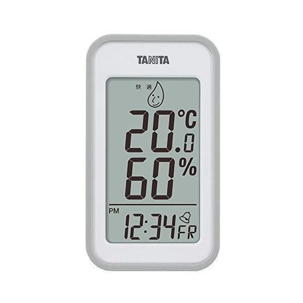 タニタ 送料0円 温湿度計 安売り TT-559 GY 温度 湿度 壁掛け デジタル グレー 卓上 時計付き マグネット