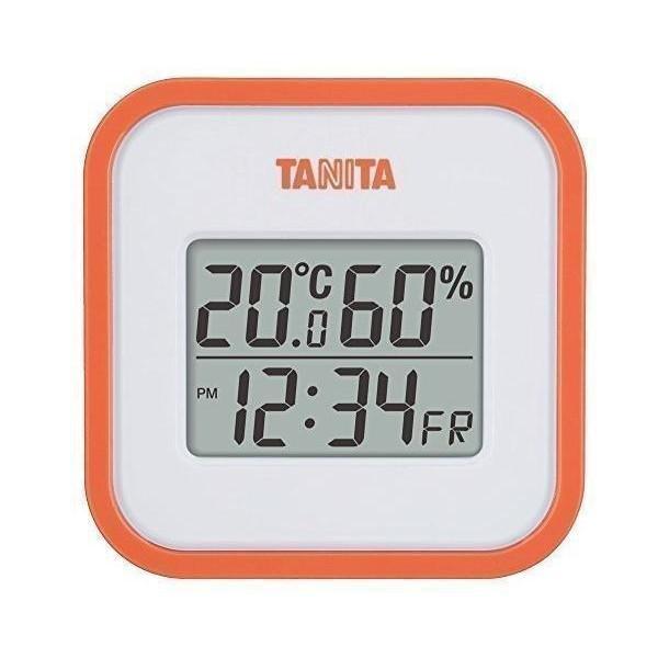 買収 タニタ 温湿度計 TT-558 OR 温度 湿度 国内送料無料 マグネット 時計付き オレンジ デジタル 壁掛け 卓上