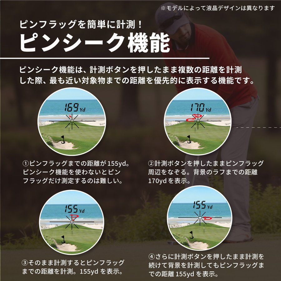【特価】PINPOINT M1300 ゴルフレーザー距離計(専用ケース・ストラップ付) ロックオン・バイブレーション機能付 レーザーアキュラシー ピンポイント|laseraccuracy|06