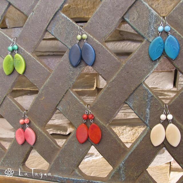 LT-5041 タグア ピアス/イヤリング リーフ、 ピアスはキャッチ付き Tagua Earrings Leaves|lataguab
