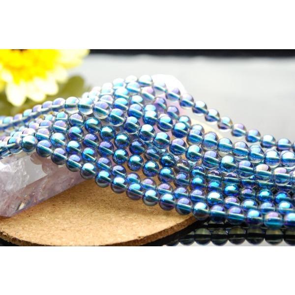 ブルーオーラ水晶 6mm 1連 約38cm 5000円以上ネコポス送料無料 _R24 定番キャンバス ご注文で当日配送